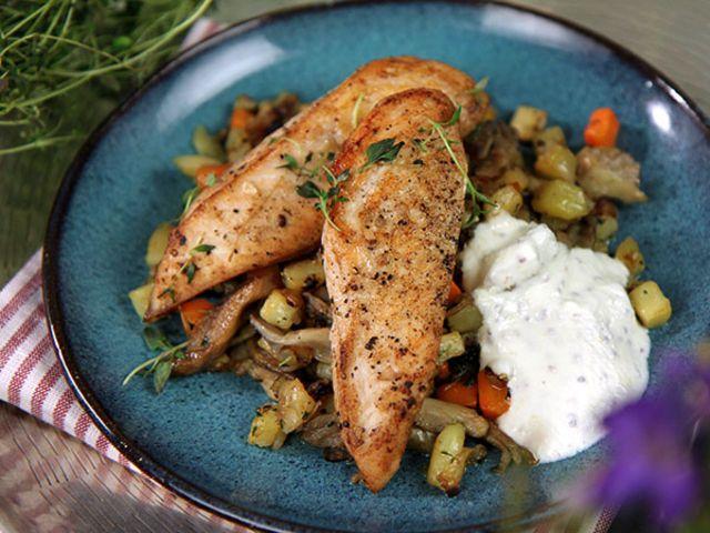 Kyckling med rotfrukts- och svamppytt (kock Jennie Walldén)
