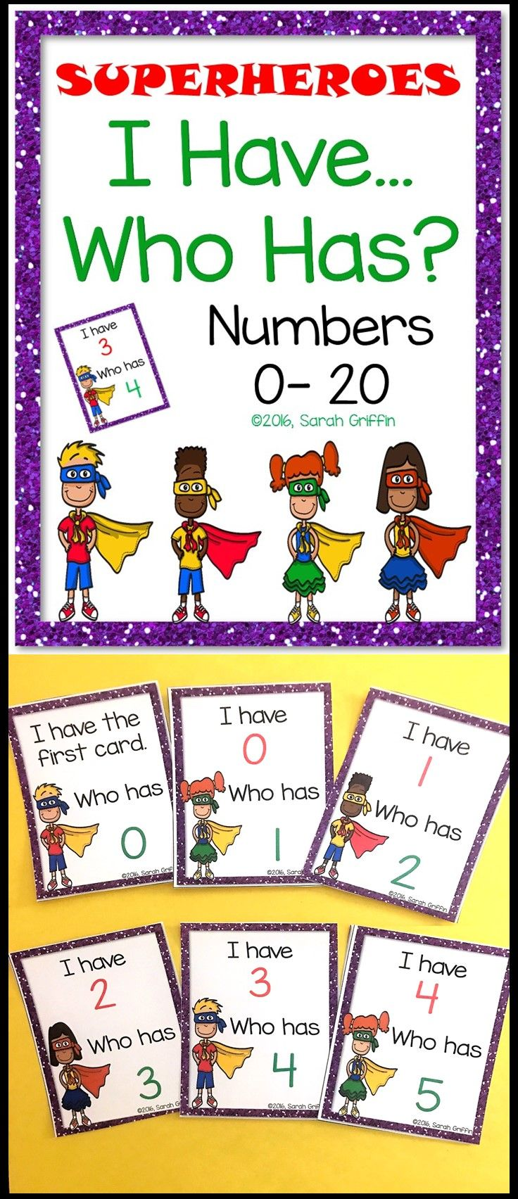 I Have Who Has | Math Game | Numbers to 20 | PreK | Kindergarten | First grade