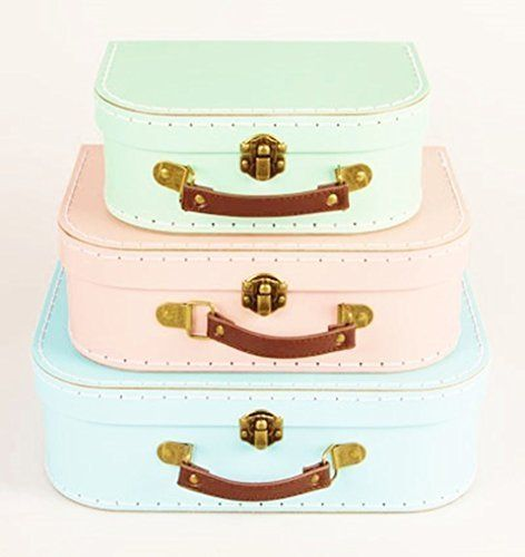 Set Of 3 Pastel Coloured Blue Green Pink Retro Suitcases Storage Boxes By  Sass U0026 Belle