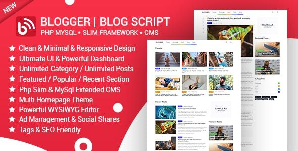 Blogger is a powerful PHP script to manage blog & news