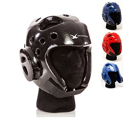 """whistlekick Martial Arts Sparring Helmet with Backpack, Large - Stealth (Black)  ☯ #1 MARTIAL ARTS SPARRING GEAR BRAND - Simply the best karate gear / taekwondo gear choice for men, women & children looking for safe, quality protection in any martial arts sparring gear set - kung fu, tangsoodo, tae kwon do (tkd), kickboxing & more.  ☯ BEST QUALITY MATERIALS - Premium 1/2"""" foam and superior vinyl coating makes our martial arts headgear last longer without extra weight. Our products don'..."""