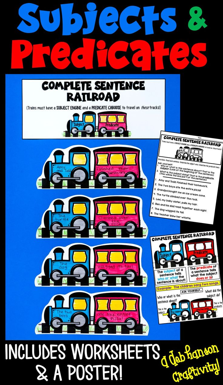 Top 25 best subject and predicate worksheets ideas on pinterest subject and predicate activity use the train engine and caboose analogy to help your students robcynllc Image collections