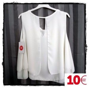 Blusa Gasa blanca doble capa