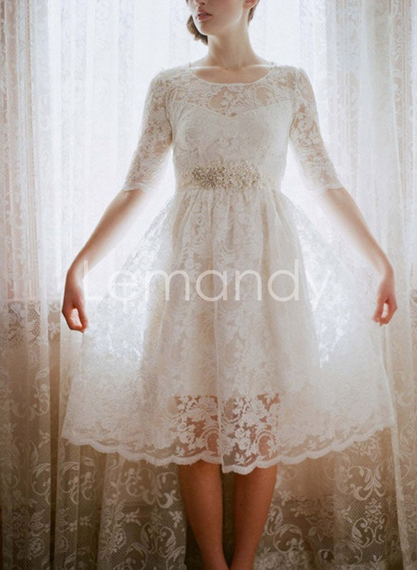 Modest lace wedding dress with half sleeves tea length for Tea length lace wedding dress with sleeves