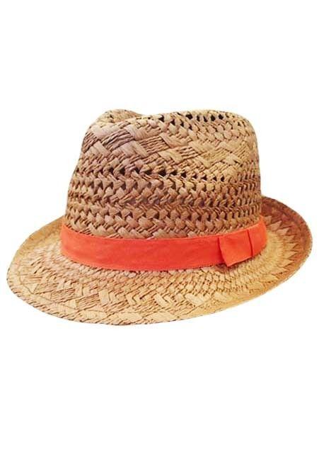 Sincerely Sweet Hat - Ocean Breeze Open Weave Straw Fedora Hat with Ribbon Trim in Tangerine