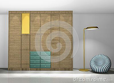Wardrobe walnut wood and colored lacquer