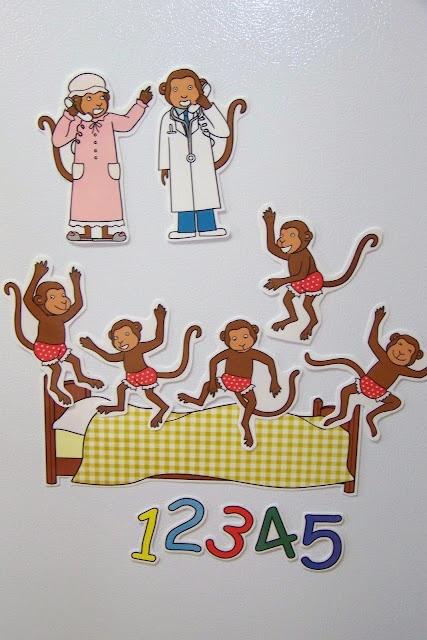 5 little monkeys story telling props