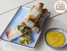 IQS 8-Week Program - Chicken Parcels with Satay Dipping Sauce are a great recipe for entertaining. Going off sugar makes you feel like never inviting people over again, but this is the perfect healthy starter for those close friends.