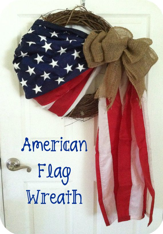 American Flag Wreath24 by TheRustBarn on Etsy, $45.00