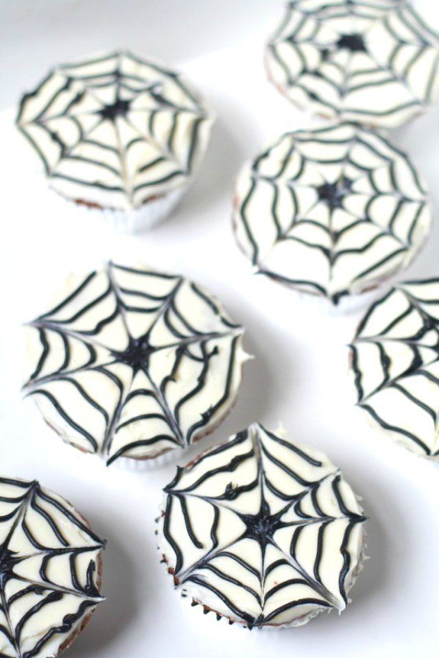 20 Wickedly Fun Halloween Cupcakes. Easy Spiderweb Cupcake Recipe. The Flying Couponer.