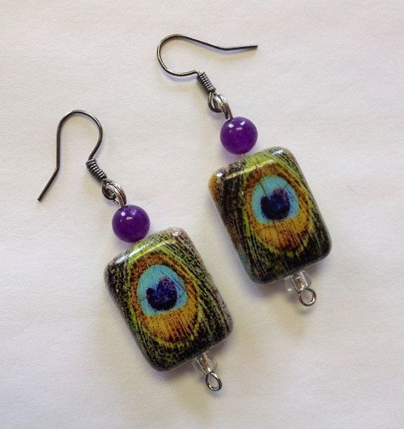 Amethyst Peacock Earrings Purple Teal Western by StarBoundWestern
