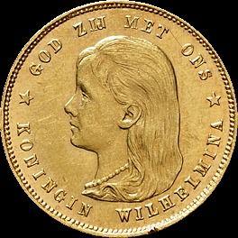 Gouden Tientje 1895 Voorkant Oude Munten Bankbiljet Gouden Munten