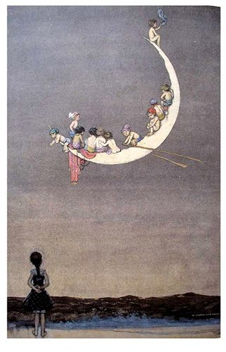 Illustration by Heath Robinson.Boats Kidstuff, The Monday, Moon, Heath Robinson, Illustration, Moon Art, Row Row, Moon Boats, The Moon