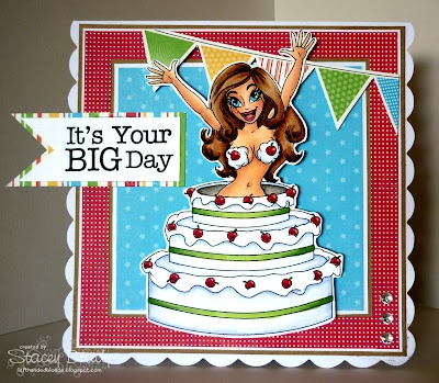"Redonkadoodles.com - ""Birthday Cake Surprise Girl"" Digital Stamp - Handmade Card Design By: Stacey"