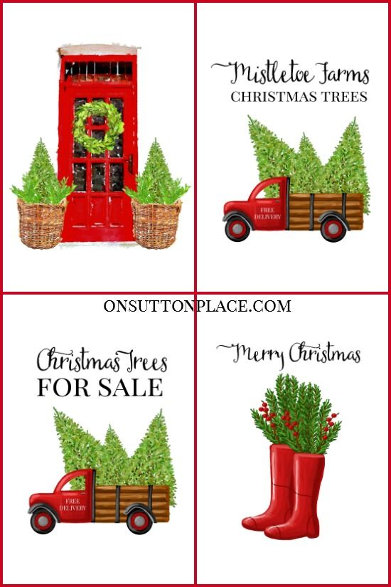 Use these free farmhouse Christmas printables for DIY wall art, cards, crafts, banners & more! Free digital download. #christmasdecor #christmas #printable