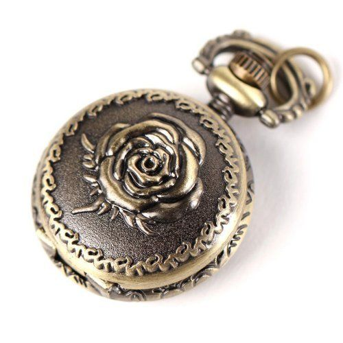 Yesurprise Antique Bronze Tone Rose Quartz Pocket Pendant Chain Watch Necklace 2.5cm Yesurprise. $7.89
