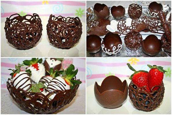 Шоколадные чашки для десерта своими руками, шоколадные кружки и вазочки, шоколадные корзины
