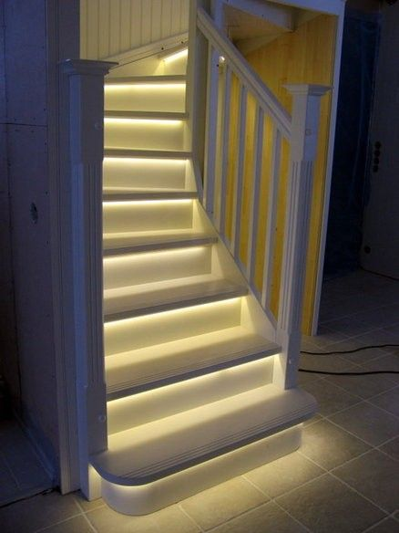 LED Light strips on stairway. - Click image to find more hot Pinterest pins