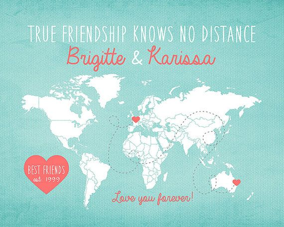 Gift for Best Friend, Long Distance World Map -  Custom Art Print, Friendship Quote, Sisters, Moving Away Gift, Going Away Gift