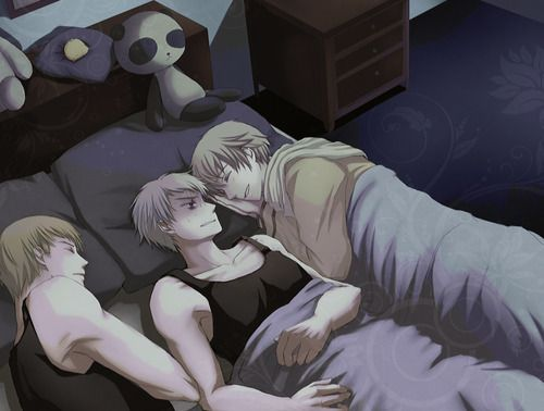 hetalia russia and prussia - Pesquisa Google Prussia's like What are you doing in my bed?