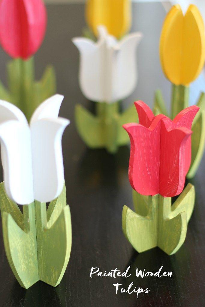 DIY painted wooden tulips. Super cute springtime decor!