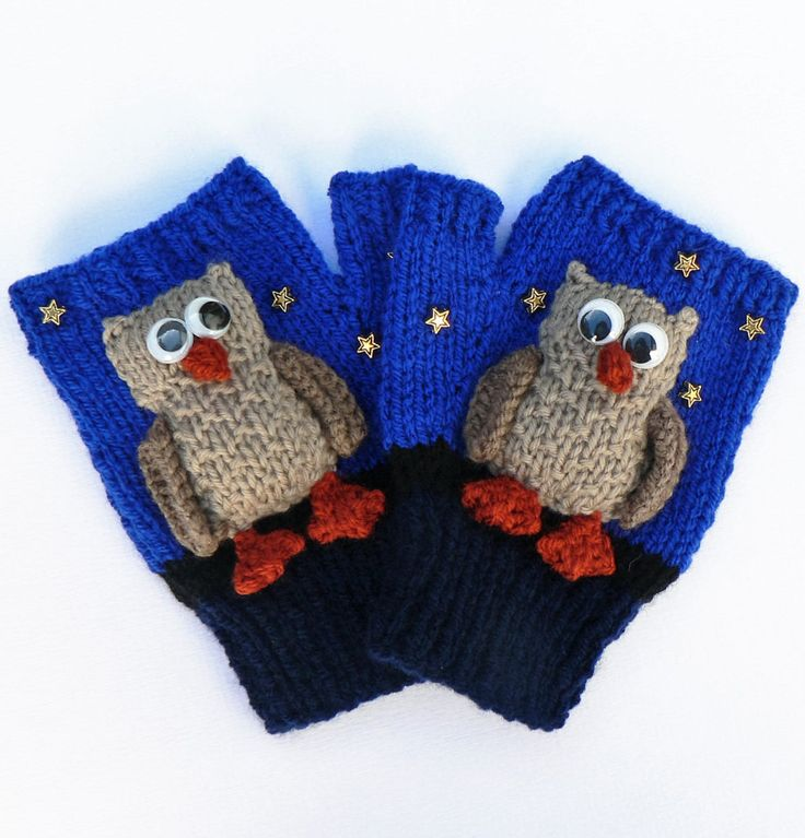 Easy Scarf Patterns To Knit : Knitting Pattern for Night Owl Mitts - Fingerless mittens in DK yarn with sep...