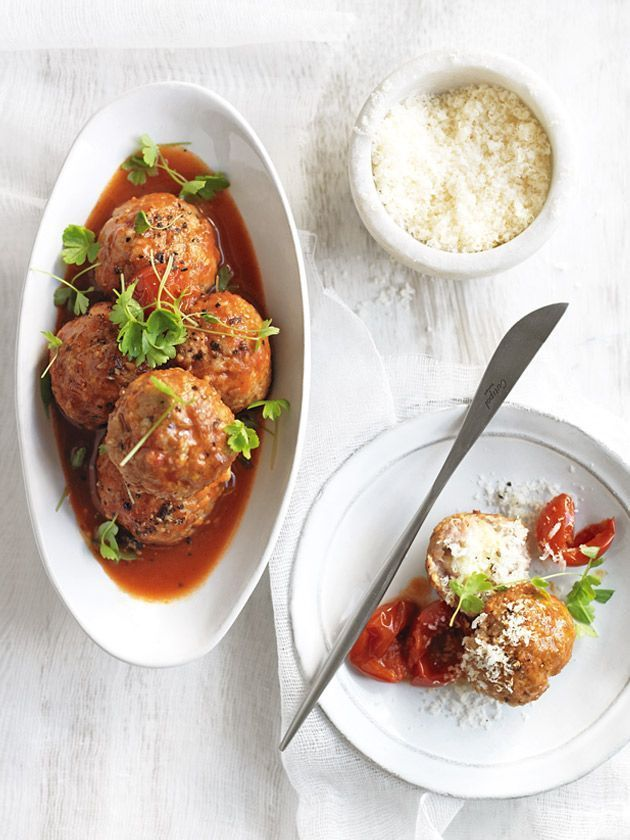 Bocconcini Stuffed Meatballs With Tomato Sauce | Donna Hay