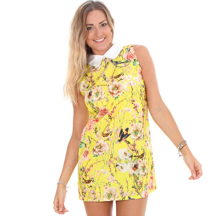 GLAMOROUS WOMEN'S YELLOW BIRD PRINT CONTRAST COLLAR SHIFT DRESS UK RRP £25 #Glamorous #Shift #Casual