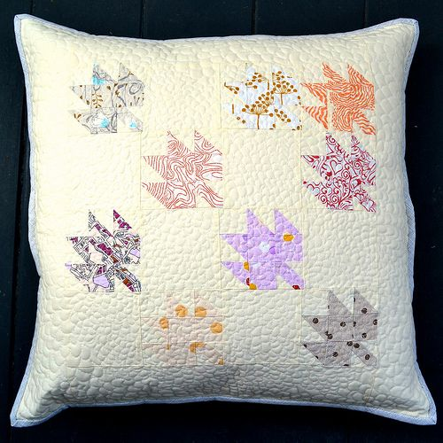 Modern Maples Pillow : Falling Softly - a low volume cushion cover (On the Windy Side) Quilt, Beautiful and Maple leaves