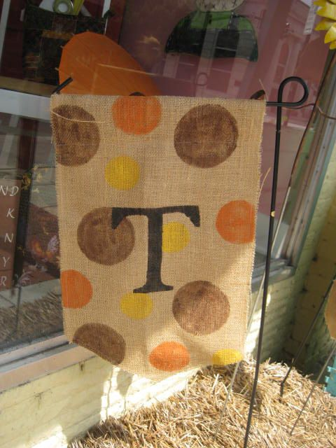 Fall Polkadot Burlap Yard Flag with Monogram