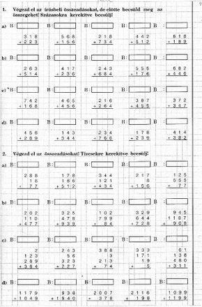 Magyat nyelvtan és matematika feladatok - Képgaléria - Matematika - Nyomtatható - Írásbeli összeadás