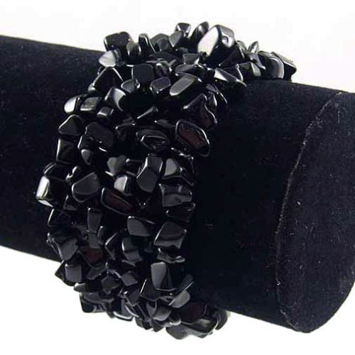 Black Onyx Wide Style Chipped Gemstone Bracelet