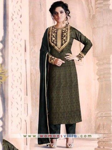 Gleaming Green Colored Georgette Designer Straight Cut Salwar Suit