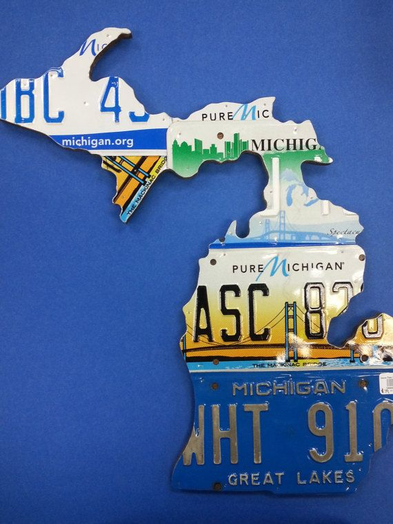 State of Michigan Map handcrafted using by MyLicensePlateHeaven