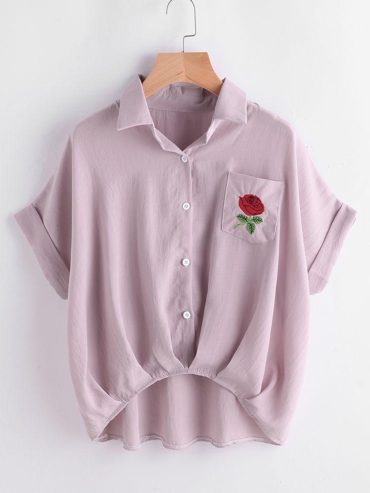 Blusa irregular de manga doblez bordada de flor con bolsillo-Spanish Romwe Sitio Móvil