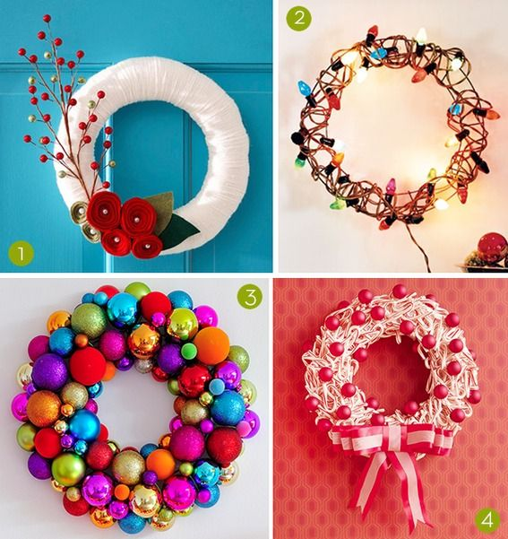 Love these wreaths. Really effective but easy to make!! 25 diy holiday wreaths