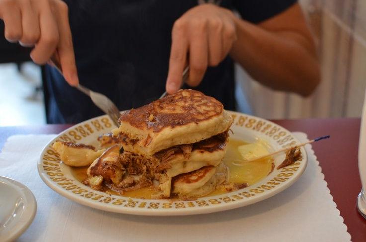 """I found Pulled-Pork Pancakes at this quaint joint call """"The Red Wagon Cafe"""" on Hastings St. in Hastings Sunrise. I recommend everyone to try their fantastic eats!"""