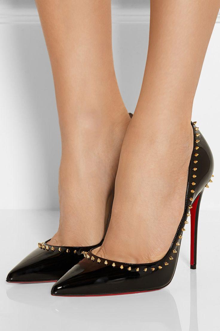 Christian Louboutin | Anjalina 120 studded patent-leather pumps ...