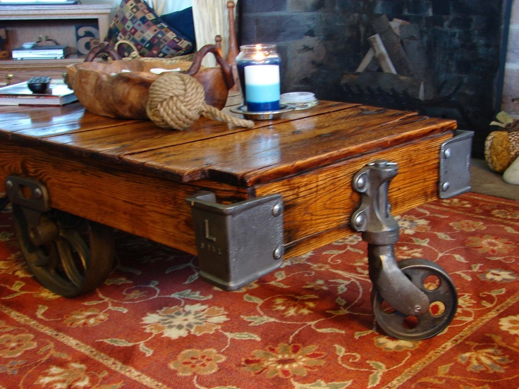 Antique Warehouse Cart Repurposed As Great Coffee Table Coastal