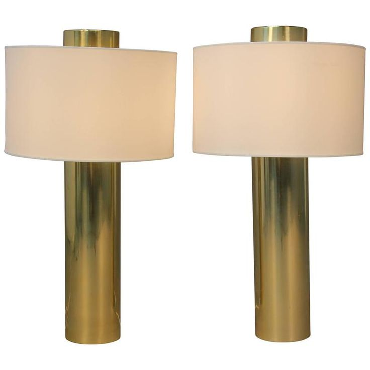 Pair of Brass Cylinder Lipstick Tube Lamps with Matching Finials | From a unique collection of antique and modern table lamps at https://www.1stdibs.com/furniture/lighting/table-lamps/