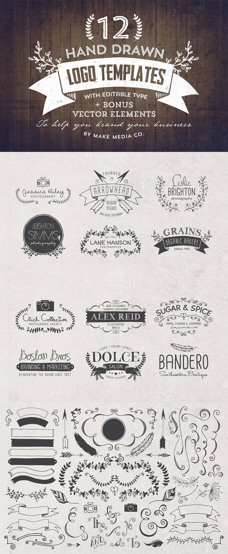 An expertly handcrafted logo can mean the difference between looking  professional, or cheap and inexperienced. This bundle from MakeMediaCo. includes a trio of hand drawn logo templates (36 total) pl
