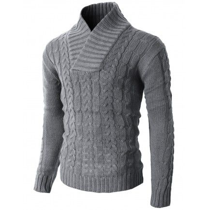 Mens Casual Shawl Collar Pullover Sweater With Twist Patterned (KMOSWL037) WWW.DOUBLJU.COM