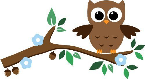 Cute baby owl wall stickers with leaves flower and for Decoraciones para hojas