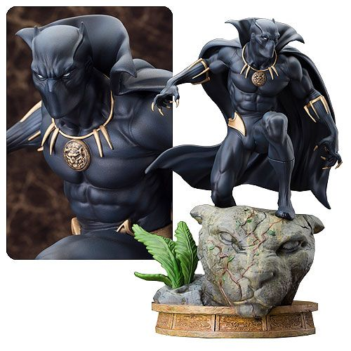 Made of resin and measuring about 12-inches tall, the hero known as Black Panther strikes a pose on an ancient panther statue that's become overgrown with foliage. Description from geekalerts.com. I searched for this on bing.com/images
