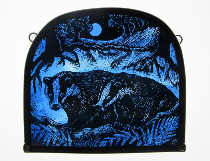 """""""Full Moon Badgers"""" by stained glass artist, Tamsin Abbott"""