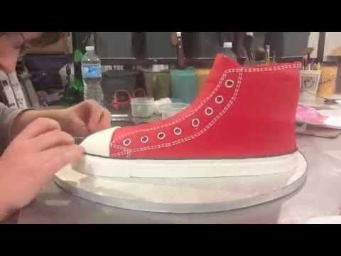 Making a Converse size 11 out of cake at For the Love of Cake in Toronto.