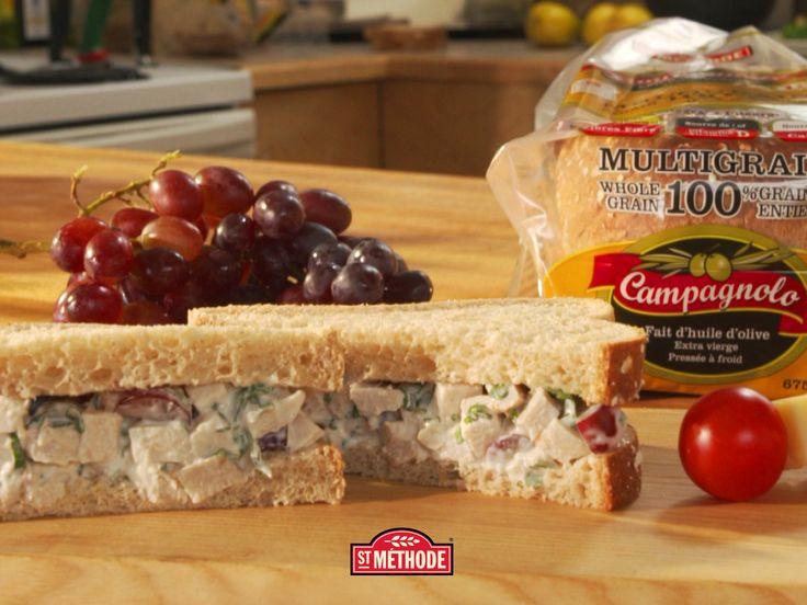 Recette sandwich au poulet fruité// Fruity chicken sandwich recipe #campagnolo #recipe #food #sandwich #healthy #bread #stmethode #foodies