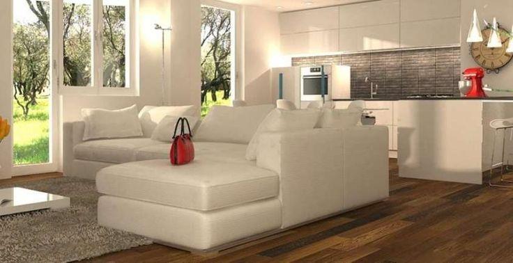 Cucina e soggiorno separati - Divano divisorio