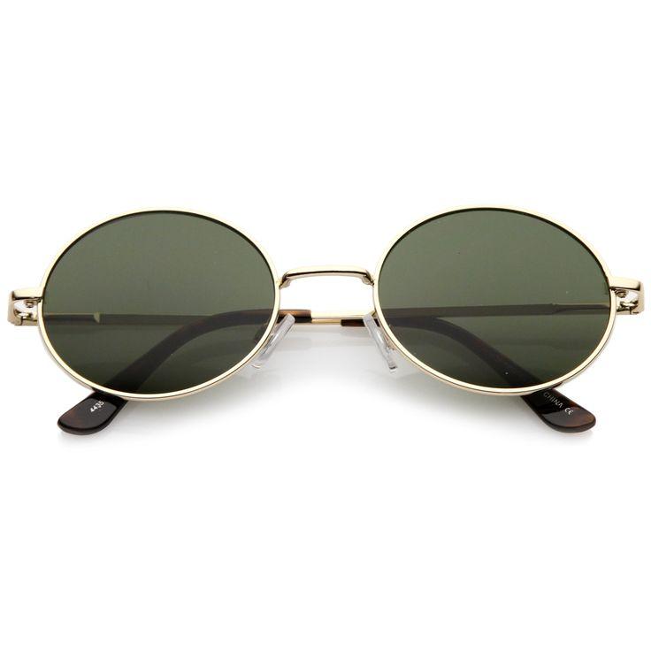 Classic Retro 90's Round Oval Flat Lens Metal Sunglasses C138