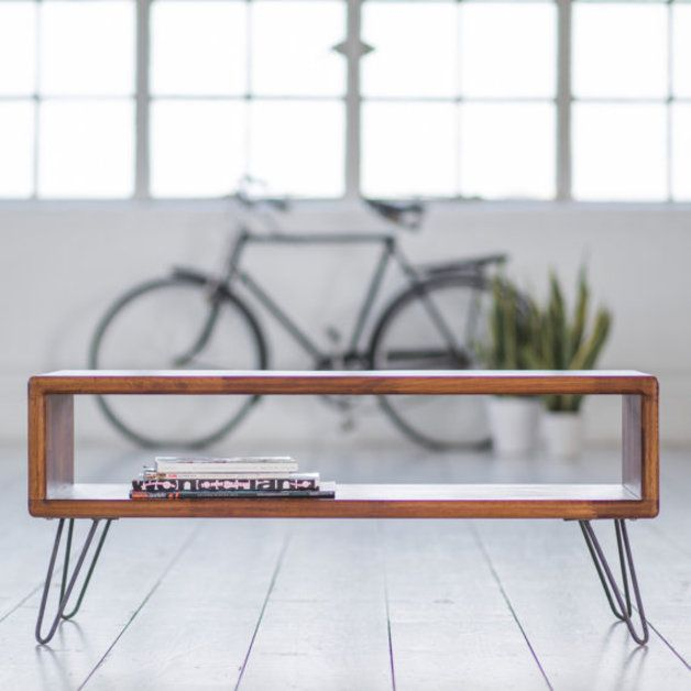 TV Stands – Iroko Modern TV Stand with raw iron hairpin legs, home design, unique minimalistic furniture, wood and steel – a unique product by biggsandquail via en.dawanda.com
